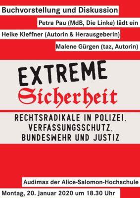 """Buchvorstellung und Diskussion """"Extreme Sicherheit"""" @ Alice Salomon Hochschule Berlin"""